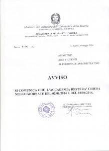 AVVISO CHIUSURA ACCADEMIA 001