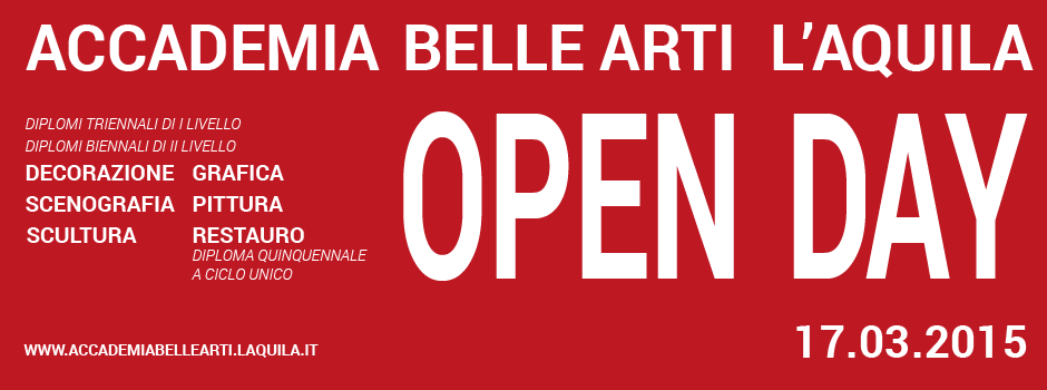 Banner Open day 2015 ABAQ Accademia Belle Arti L'Aquila