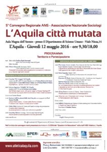 5° Convegno Regionale ANS - Associazione Nazionale Sociologi L'Aquila città mutata