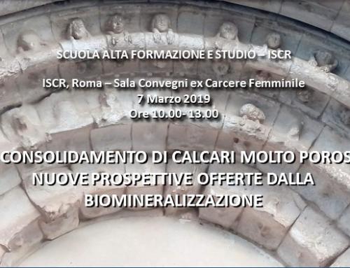 """Seminario """"Il consolidamento di calcari molto porosi. nuove prospettive offerte dalla biomineralizzazione"""""""