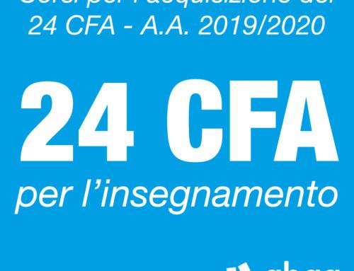 Corsi per l'acquisizione dei 24 cfa a.a. 2019/2020
